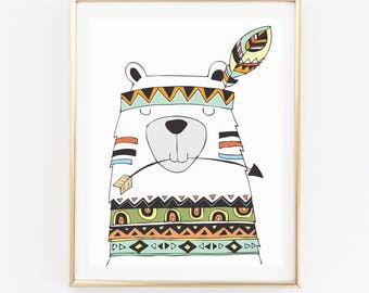 Watercolor Bear Print, Animal Print, Baby Room Print, Kids Room Print, Wall Art, Home Decor, Cadre, Christmas Gift, Birthday Gift, D81-37