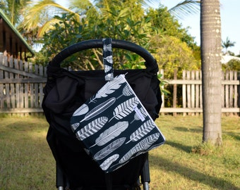 Large Wet Bag, swim bag, nappy bag, waterproof bag, travel bag - feathers on dark