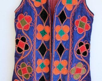 handmade afghani vest / vintage tribal waistcoat/ 70s hippie bohemian gypsy antique nomadic