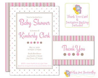 Pink and Brown Baby Shower Invitation, Printable Baby Shower Invitation, Girl Baby Shower, Polka Dot Baby Shower Invitation, Baby Thank You