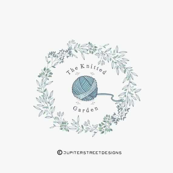 Knitting Logo Ideas : Logo design wreath knitting business branding