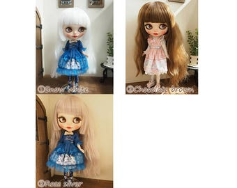 Blythe doll wig 10inch Princess Wave Style wig Pulip outfit