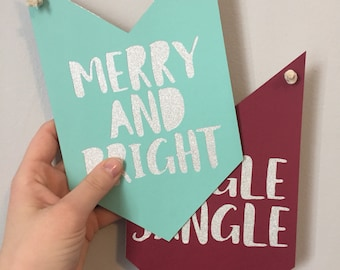 MERRY AND BRIGHT pennant banner // christmas decor, holiday decor, hostess gift, merry & bright