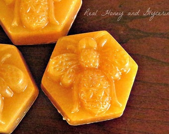 Honey Soap - Real Honey and Glycerin Soaps - Honey Bee Soaps - Shaped Soap - Guest Soaps - Soap Favors - Homemade Soap - Natural Soap Bars