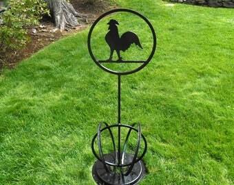 Free Standing Metal Rooster Lawn Ornament,  Metal Garden Decoration, Outdoor garden Art, Chicken Garden Art, Whimsical Rooster Lawn Ornament