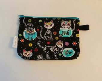 Toiletry Case • Accessory Case • Gadget Case • Makeup Bag • Pencil Case! Sugar Skull/Dead of the Dead/Skeleton Cats • Fish! Ready to Ship!