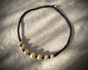 rich golden south sea pearls necklace leather
