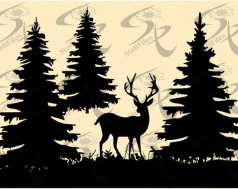 0511_Vector, christmas tree,DEER Grass,animals,forest ,SVG,DXF,ai, png, eps, jpg,Silhouette Download files, Digital, graphical,Signature