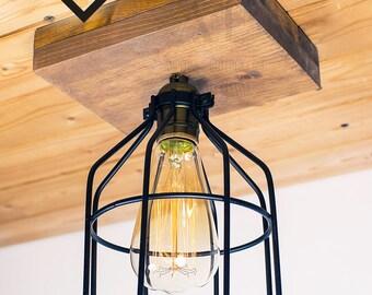 Black Cage ceiling light Industrial Aluminium ceiling light, Antique Edison Bulb, Lamp, Rustic Lighting