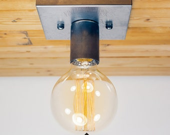 Steel Nickel Square Ceiling light Industrial Style ceiling light, Antique Edison Bulb, Lamp, Rustic Lighting