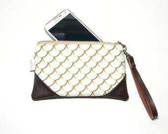 Mini Golden Mint Mermaid Zipper Pouch / Mini Clutch with inside lining and Zipper Pull or Leather Wristlet Strap