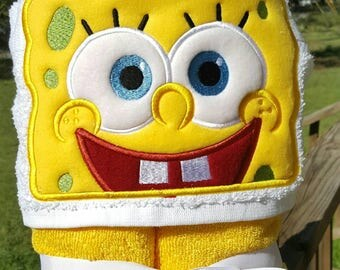 Sponge Bob Hooded Towel with FREE Embroidered Name