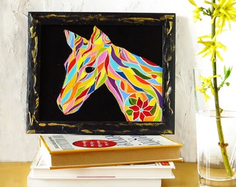 Original 8x10 oil painting Horse art Abstract horse painting Horse lover gift Kids room decor Animal art Colorful modern art Horse wall art