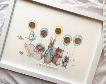 My hand painted version of beatrix potter characters originally designed to stick  the 50p coins on each balloon