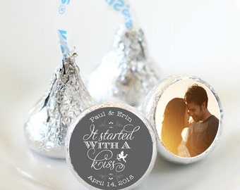 108 Photo Hershey Kiss® Stickers - Hershey Kiss Stickers Wedding Personalized Hershey Kiss Labels It started with a kiss Photo Kiss Seals