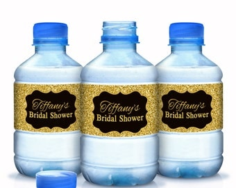 Wedding Water Bottle Labels, Personalized Water Bottle Labels, Waterproof Label, Bridal Shower Labels, Welcome Bags, Gold Glitter