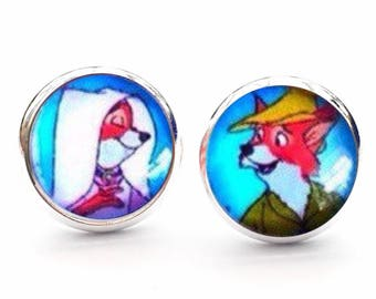 Disney Robin Hood And Maid Marian Gift Novelty Cool Stud Earrings. 10mm Available as cufflinks