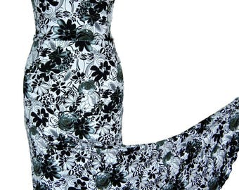 Flamenco Practice Skirt Dance Elegant Black White floral Stretchy Mermaid Maxi Skirt Boho Gypsy Beautiful