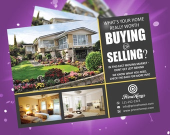 Real estate advertising postcard template - editable in MS word, powerpoint, publisher, photoshop template instant download - KOR-022A