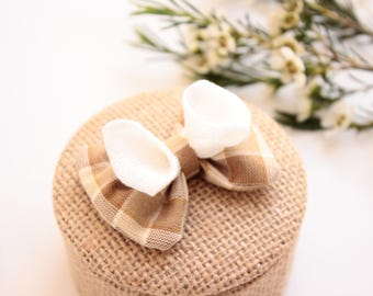 Box of engagement and wedding rustic chic Burlap, bow double white linen & Plaid taupe and chestnut.