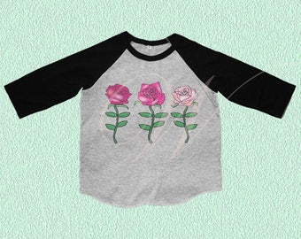 Roses tshirt Toddler tshirt /raglan shirt kids clothing for 12M/2T/ 4T/ 6-10 years