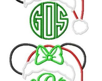 Character Inspired SET 2 Designs Mister and Miss Santa Mouse Monogram Toppers Applique Embroidery Applique Design