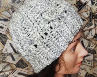 Messy Bun Hat Messy Bun Beanie Ponytail Hat Crochet Hat Bun Hat Messy Bun Cable Hat Knit Cable Hat Wool Hat Winter Hat Crochet Bun Hat