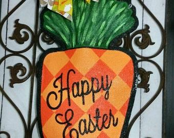 Easter Carrot Burlap Door Hanger Decoration and Wreath Replacement