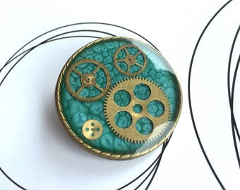 Steampunk Brooch, Resin Brooch, Spilla, Brosche, Steampunk Gifts, Clockwork Jewelry, Cosplay, Upcycled Jewelry, Gears Cogs Resin Accessories