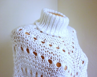 White woolen poncho, hand knitted poncho, poncho vintage lace cape