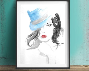 Original Gift > Portrait of sensual woman with bue cabaret hat - Watercolor - Ink - red lips femme fatale - 24x32 cm - 9 1/2 x 12 1/2 inches