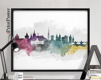 Prague poster, Prague, Prague print, Czech republic, watercolour art print, skyline print, wall art, travel poster, home decor, iPrintPoster