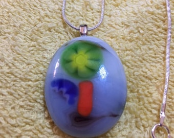 Marble and Millefiori Glass Pendant