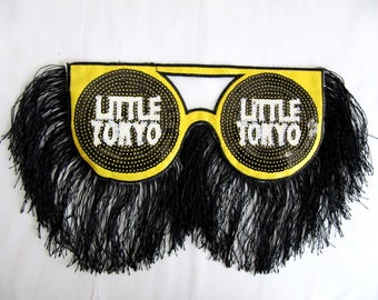 Tokyo Patch,Tokyo Sunglasses Applique,Tokyo Patch with Black Fringe,Patch With Fringe,