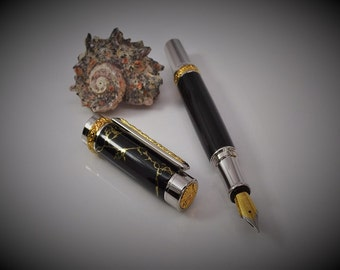 Fountain Pen - Black Onyx Stone with Gold Titanium and Rhodium Accents.