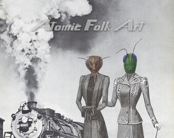 Departure Incognito: Surreal Art Steampunk Victorian Sci-Fi Collage Fantasy Gallery Wall Unique Decor Vintage Fashion Antique Train Insect