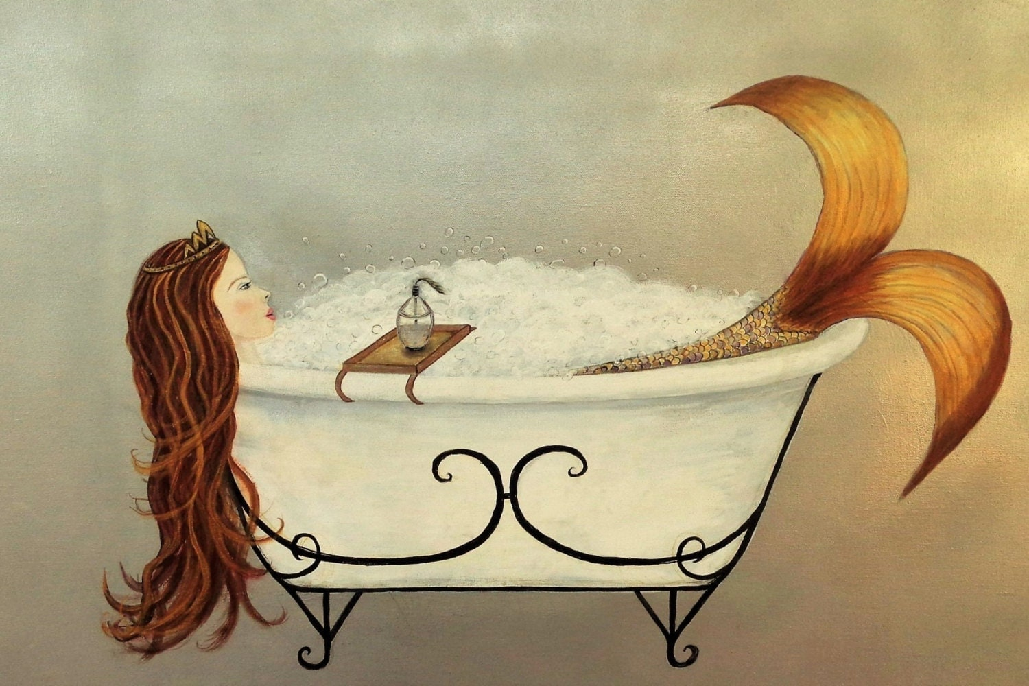 Mermaid Wall Art Acrylic Painting Clawfoot Tub Mermaid
