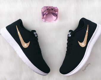 Gold Swarovski Nike Free RN Running Shoes Customized With Swarovski Crystals Bling Nike Shoes