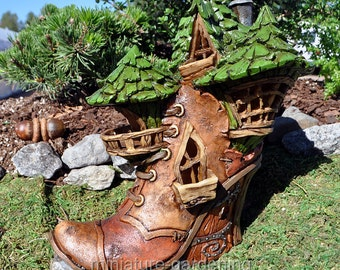 Witchy Boot Fairy House for Miniature Garden, Fairy Garden