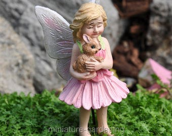 Blossom the Fairy and Bunny, with Pick for Miniature Garden, Fairy Garden