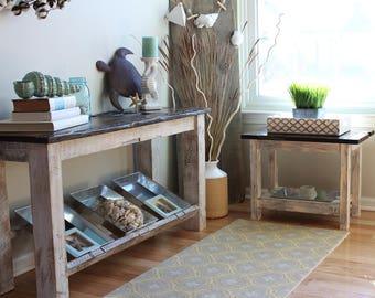 Barnwood + Whitewash Console Table, Barnwood Console, Barnwood Sofa Table, Media Table, Reclaimed Barnwood Sofa Table