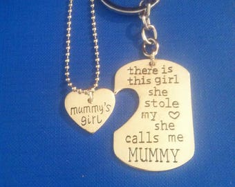 There is this girl she stole my heart she calls me MUMMY keychain and MUMMY'S GIRL keychain & necklace set, Also available Grandma / Grandpa