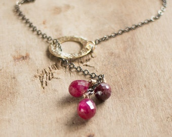 Ruby Cluster Necklace, Mixed Metal Ruby Lariat Necklace, July Birthstone, Gemstone Necklace, Genuine Ruby Jewellery, Wife Gift