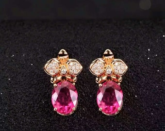 Butterfly Red or Green Tourmaline Diamond Earrings Stud in 18k Yellow or White Gold Wedding Birthday Valentine's Day