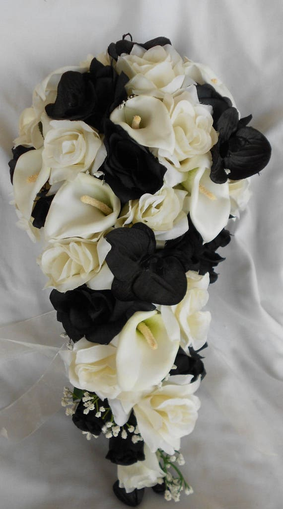 Ivory black and white Callas and roses cascading bouquet 2 pieces