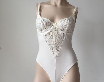 White lace detail body suit