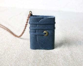 Book necklace, mini book jewelry, mini journal, tiny book , journal, literature necklace, leather journal