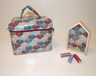 Toilet Kit, vanity in coated cotton print in shades of blue, Burgundy and salmon