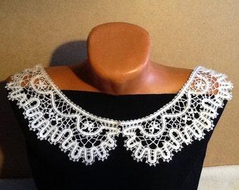 Bobbin Lace Collar. Russian Vologda Lace. Linen. White. Nice Gift. Handmade.