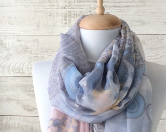 Scarf summer scarf boho scarf oversize scarf coral scarf long scarf scarf light summer scarf infinity scarf paisley scarf